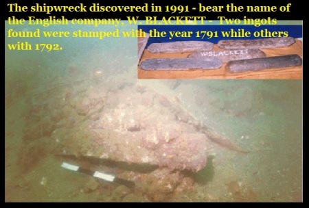 The shipwreck discovered in 1991 -W Blackett 1791-92
